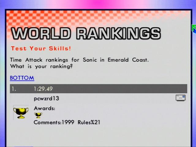 Sonic Adventure's World Rankings Restored!